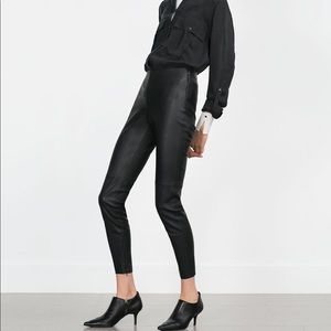 Zara Faux Leather Ankle Zip Leggings Black Medium